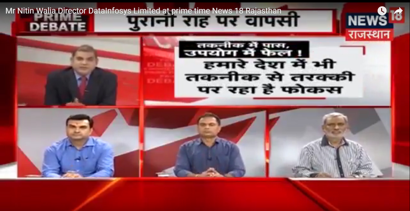 Mr Nitin Walia Director DataInfosys Limited at prime time News 18 Rajasthan